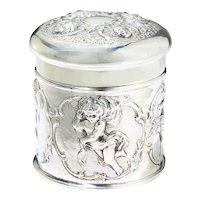 Antique sterling silver Repousse tea caddy