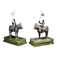 Asprey pair or horseriding solid silver figurines on marble bases