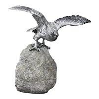 Sterling silver eagle figurine on a boulder rock, London 1981