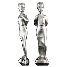 Vintage 925/1000 sterling silver pair of candlesticks in the shape of two ladies.