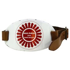 Vintage 1000 Miglia enamel plate with leather belt