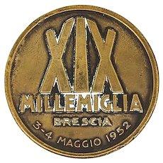 Vintage XIX Mille Miglia bronze badge medal coin