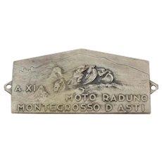 Vintage memorial plate of the ' A.XI Moto Raduno Montegrosso D'asti '