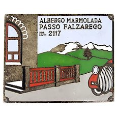 Vintage ' Albergo Marmolada Passo Falzarego m. 2117 ' plate