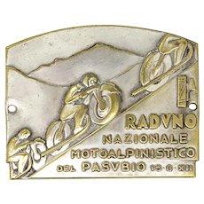 Vintage memorial plate of the ' Raduno Nazionale Motoalpinistico del Pasubio, 1934, Italy