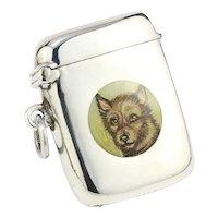 Antique sterling silver vesta case with enamel portrait of dog