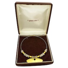 1980s Galeria Cano Pre-Columbian Modernist 24K Gold Plate Frosted Crystal Necklace