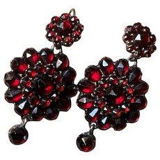 Antique Rose Cut Bohemian Garnet Earrings