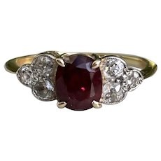 1940s Ruby and Diamond Ring