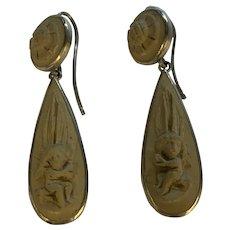 Antique Lava Cameo Teardrop Earrings