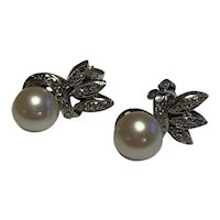 14 Karat Gold and Diamond Cultured Pearl Earrings