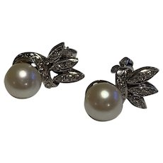 14 Karat Gold and Diamond Cultured Pearl Earrings