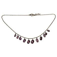 Edwardian Amethyst 9k Gold Fringe Necklace