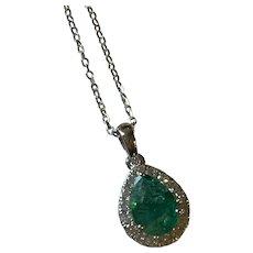 Emerald and Diamond 18 Karat Gold Pendant