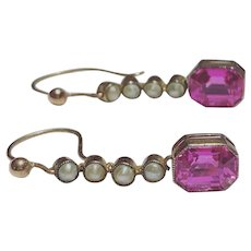 Edwardian Synthetic Ruby and Split Pearl Earrings