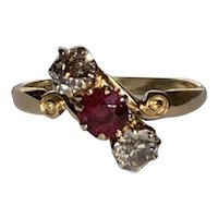 Edwardian Ruby and Old European Cut Diamond Ring 18 Karat Gold