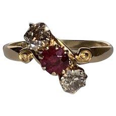 Edwardian Ruby and Old European Cut Diamond Ring 18 Karat Gold