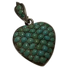 Turquoise Puffy Heart Pendant Locket