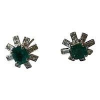 18 Karat Emerald and Diamond Earrings