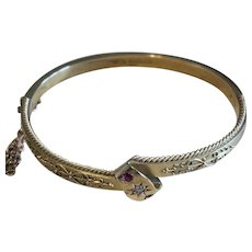 Antique Diamond and Ruby 15 Karat Gold Bangle