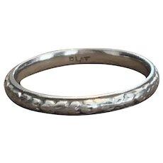 Platinum Engraved 1930s Wedding Ring