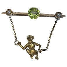 Peridot and Pearl Swinging Monkey Brooch