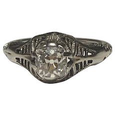 Art Deco 0.87ct Diamond VS1 Quality Engagement Ring