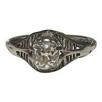 Art Deco Old Mine Cut Diamond Engagement Ring