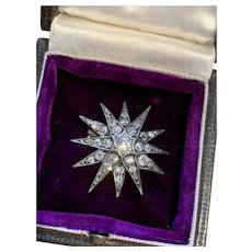 Diamond Antique Starburst Brooch