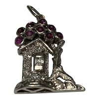 Art Deco 18 Karat Gold Ruby and Diamond House Charm