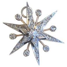 Antique Victorian Rose Cut Diamond Star Brooch