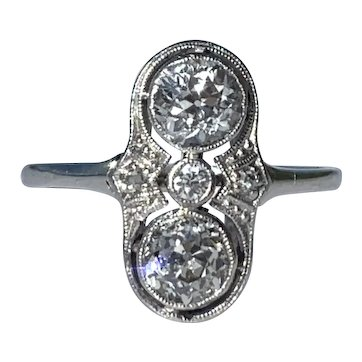 Antique Art Deco Old Cut 1ct Diamond Ring