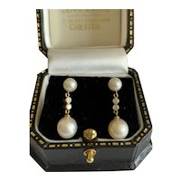 Diamond and Pearl 18 Karat Gold Earrings