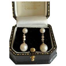 Diamond and Pearl 18 Karat Gold Earrings