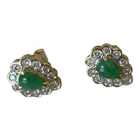 Jadeite and Diamond 18 Karat Gold Earrings