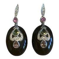 18 Karat Gold Onyx Diamond Pink Sapphire Peridot and Amethyst Earrings