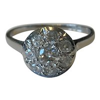 A Platinum Old Cut Diamond 1930s French Ring