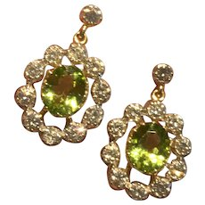 Peridot and 2ct Diamond Cluster 18k Gold Earrings
