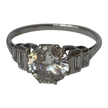 Platinum and Diamond 1.3ct Art Deco Engagement Ring