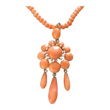 Natural Coral Victorian Necklace