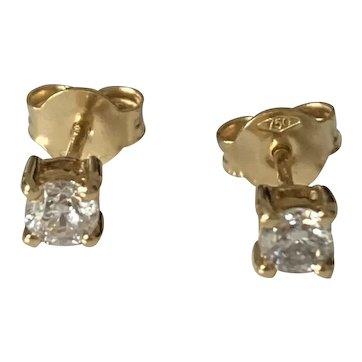 0.5ct Diamond 18k Gold Stud Earrings