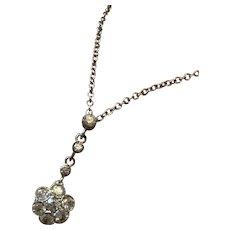Platinum Daisy Head Edwardian Pendant