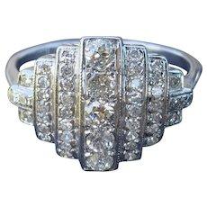 Art Deco Style Diamond 18 Karat Gold Cluster Ring