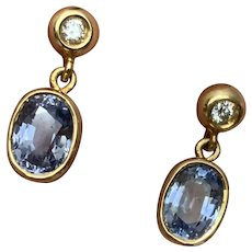 Natural Ceylon Sapphire and Diamond Earrings 18 Karat Gold