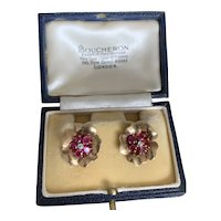 Boucheron Ruby and Diamond 18 Karat Gold 1940s Earrings