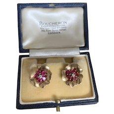 Boucheron Ruby and Diamond 18 Karat Gold 1940s Earrings