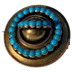 Victorian Turquoise Morning Brooch 9k