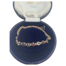 Antique Multi Gem 9 Karat Gold Bracelet