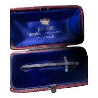 Victorian Diamond and Seed Pearl Sword Brooch