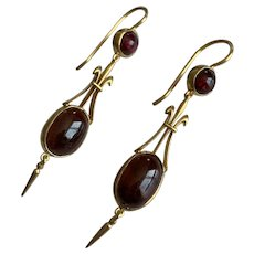 Garnet Victorian 9k Gold Earrings